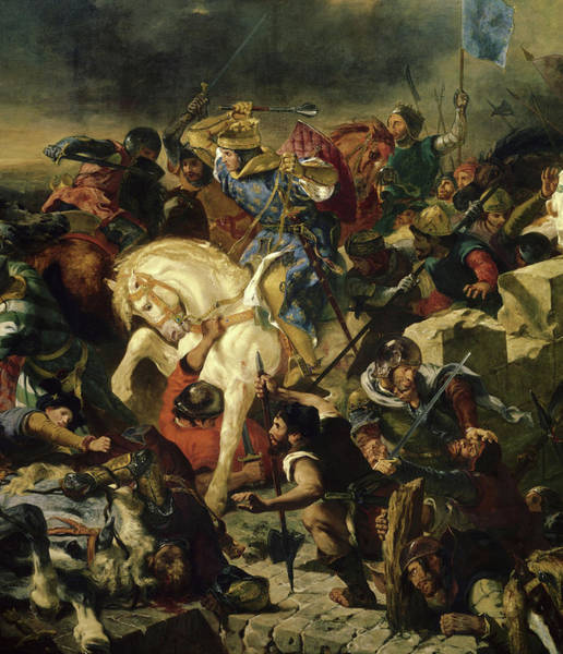 Wall Art - Painting - Bataille De Taillebourg, 1242 by Ferdinand Victor Eugene Delacroix
