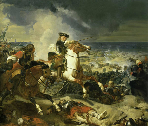 Wall Art - Painting - Bataille Des Dunes Au Siege De Dunkerque, 1658 by Charles-Philippe Lariviere