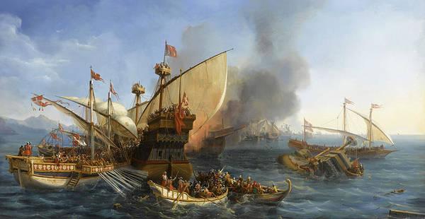 Wall Art - Painting - Bataille Navale Devant Episcopia Dans Le Golfe De Tarente, 1323 by Auguste Etienne Francois Mayer
