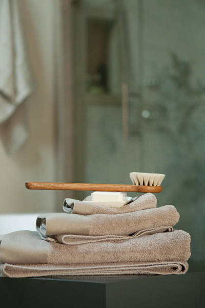 Bath Brush On Stacked Towels Art Print