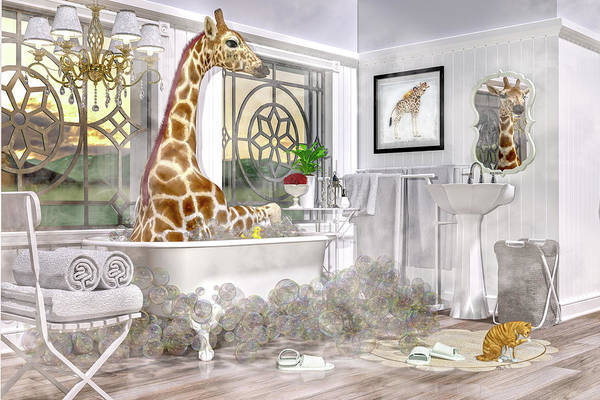 Tub Wall Art - Digital Art - Bath Time Giraffe  by Betsy Knapp