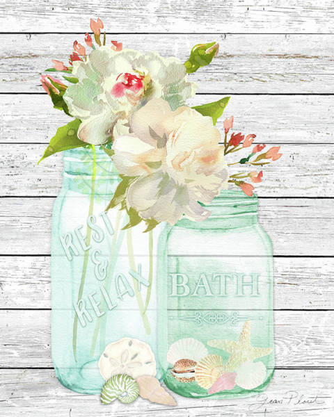 Branch Mixed Media - Bath Time Mason Jars D by Jean Plout