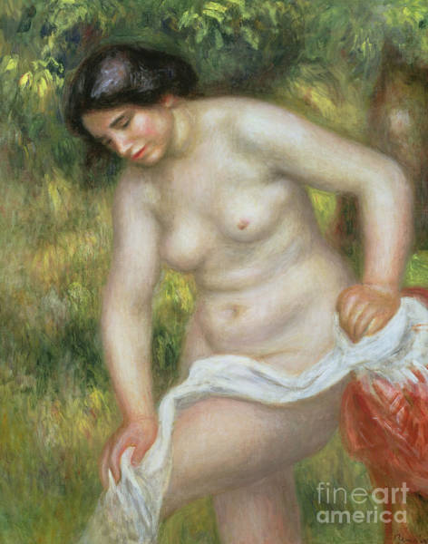 Wall Art - Painting - Bather Drying Herself With A White Cloth by Pierre Auguste Renoir
