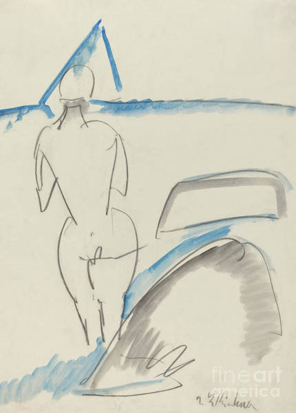 Wall Art - Drawing - Bather On The Beach by Ernst Ludwig Kirchner