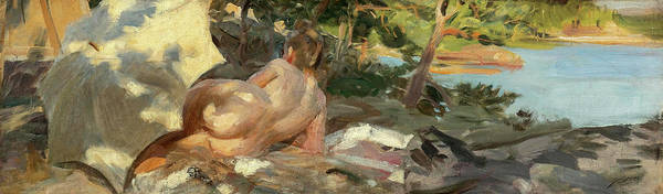 Wall Art - Painting - Bather With Parasol, Dalaro, 19th Century by Anders Zorn