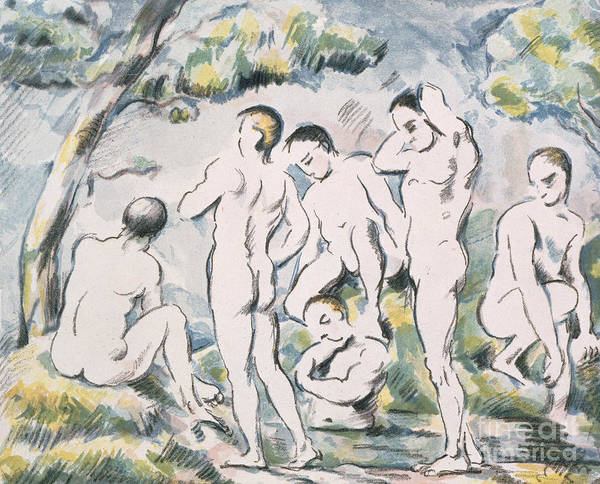 Wall Art - Painting - Bathers In A Landscape, 1898 by Paul Cezanne