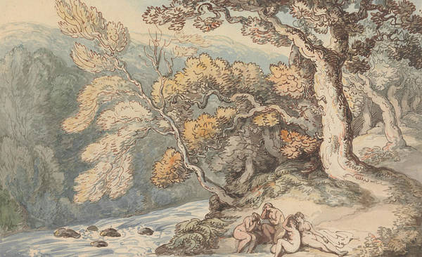 Bather Drawing - Bathers In A Landscape by Thomas Rowlandson