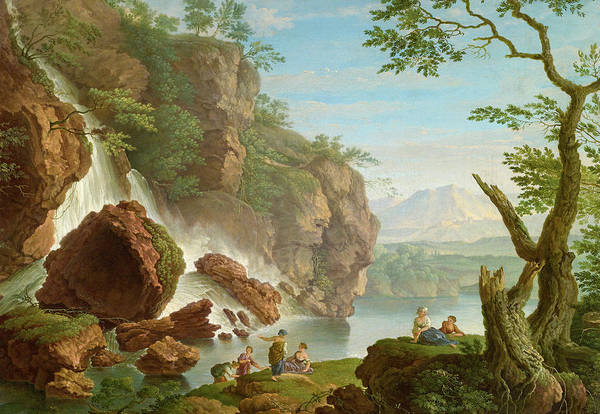 Wall Art - Painting - Bathers Near A Waterfall by French 18th Century