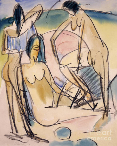 Wall Art - Painting - Bathers On The Shore, Fehmarn by Ernst Ludwig Kirchner