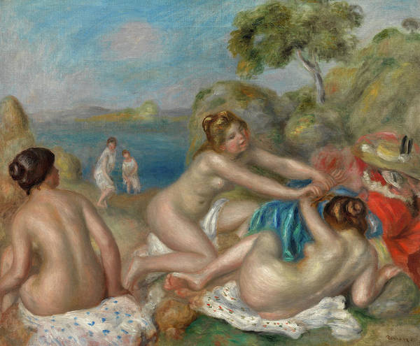 Wall Art - Painting - Bathers Playing With A Crab, 1897 by Pierre-Auguste Renoir