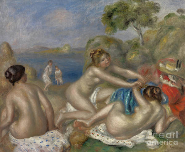 Wall Art - Painting - Bathers Playing With A Crab, Circa 1897  by Pierre Auguste Renoir