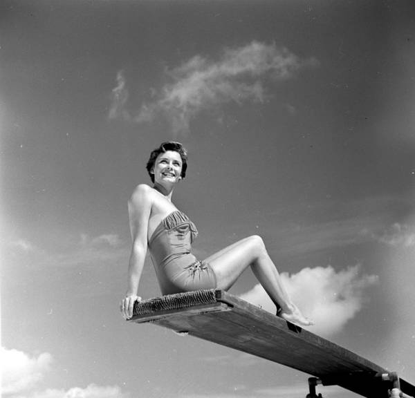 Diving Board Photograph - Bathing Beauty by Three Lions