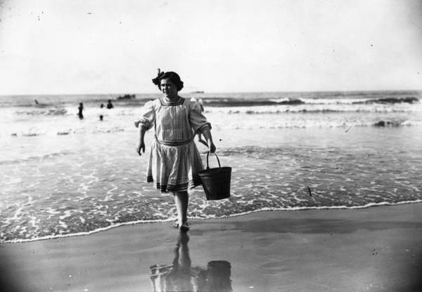 Service Photograph - Bathing Hut Attendant by Topical Press Agency