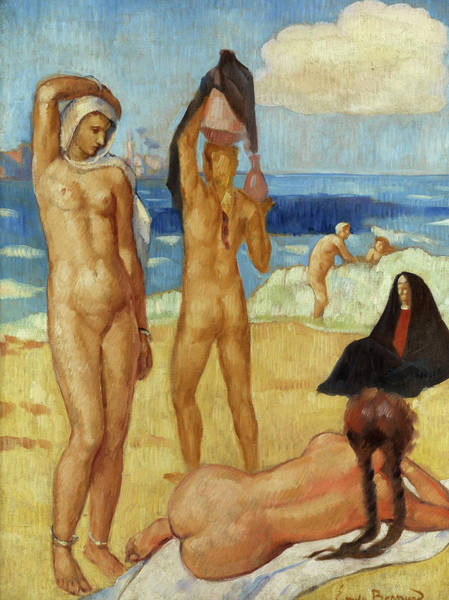 Braid Painting - Bathing In The Margins Of The Nile by Emile Bernard