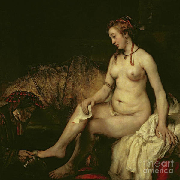 Wall Art - Painting - Bathsheba Bathing, 1654 By Rembrandt  by Rembrandt