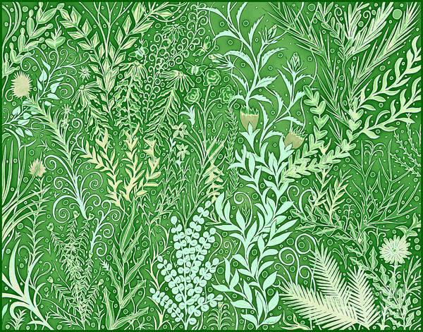 Mixed Media - Batik Garden In Green by Lise Winne