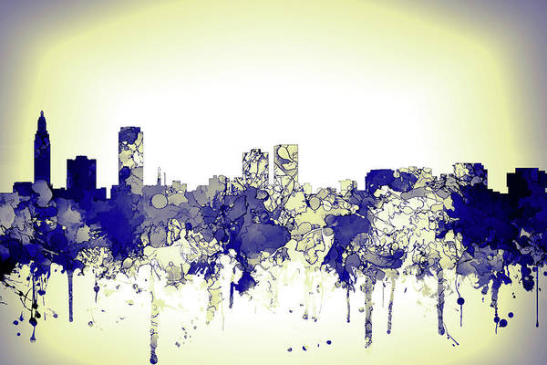 Baton Rouge Digital Art - Baton Rouge City Skyline Blue Yellow 2 by Watson Mckeating