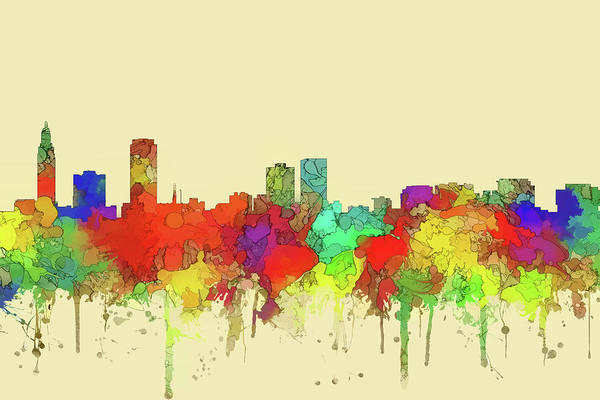 Baton Rouge Digital Art - Baton Rouge City Skyline Watercolor2 by Watson Mckeating