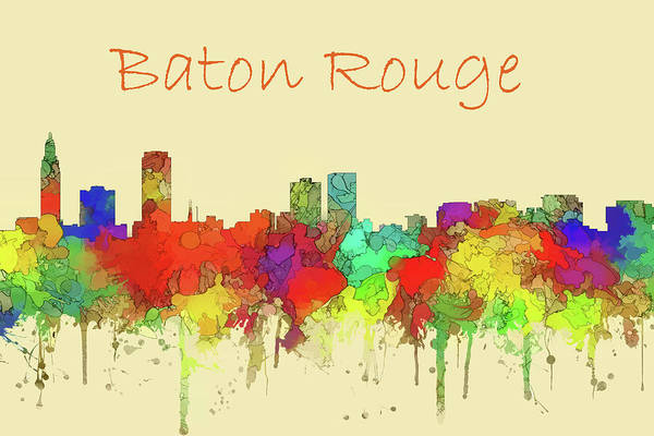 Baton Rouge Digital Art - Baton Rouge Skyline Watercolor by Watson Mckeating