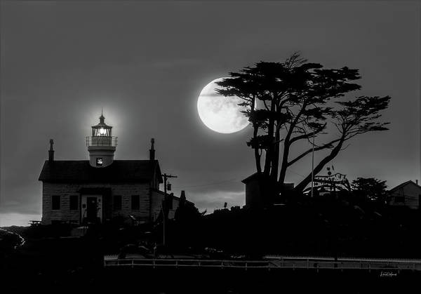 Battery D Photograph - Battery Point Lighthouse In Moonlight by Leland D Howard
