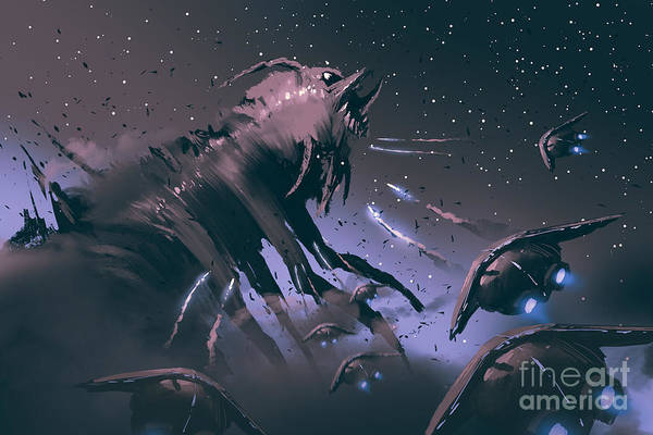 Wall Art - Digital Art - Battle Between Spaceships And Insect by Tithi Luadthong