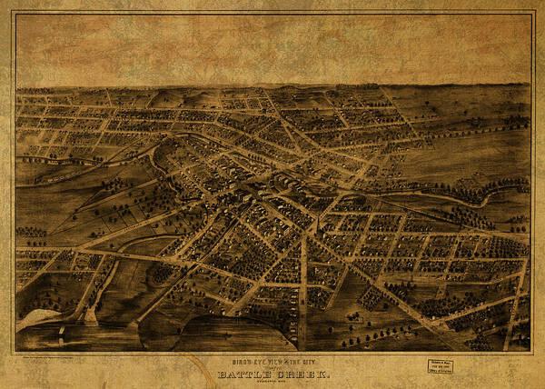 Wall Art - Mixed Media - Battle Creek Michigan Vintage City Street Map 1880 by Design Turnpike