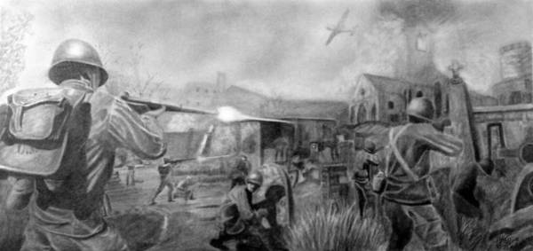 Wall Art - Drawing - Battle by Lyle Brown