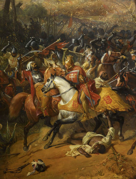 Wall Art - Painting - Battle Of Arsuf, Richard I Of England, 1191 by Eloi Firmin Feron
