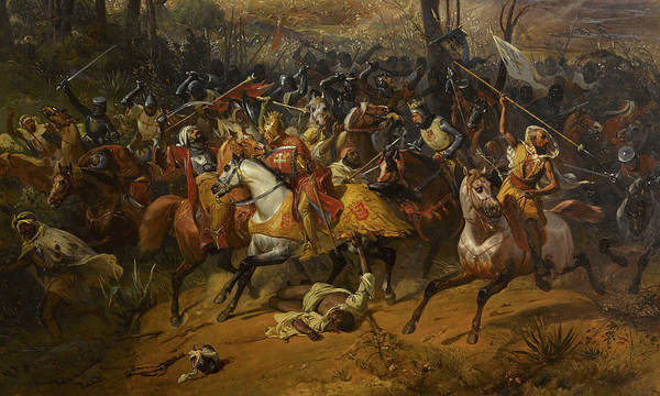 Wall Art - Painting - Battle Of Arsuf, Richard The Lionheart, 1191 by Eloi Firmin Feron