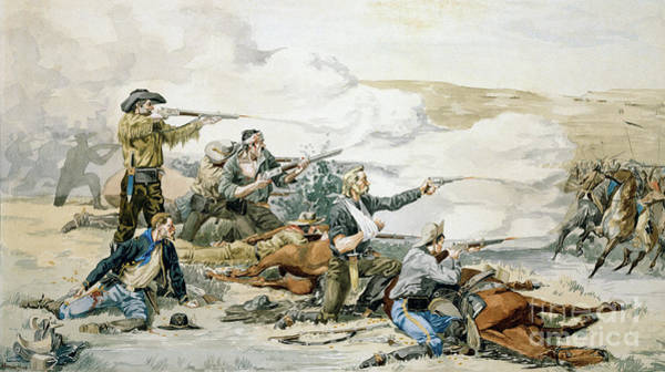 Wall Art - Painting - Battle Of Beechers Island, 1868, Custers Last Stand by Frederic Remington