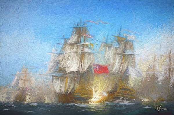 Digital Art - Battle Of Chesapeake by Per Andersson