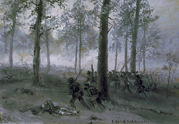 Confederate Soldier Drawing - Battle Of Chickamauga - Confederat Line Advancing by Alfred Waud