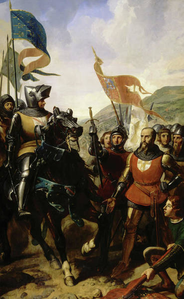 Wall Art - Painting - Battle Of Cocherel, 1364 by Charles-Philippe Lariviere