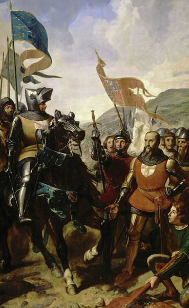 Wall Art - Painting - Battle Of Cocherel by Charles-Philippe Lariviere