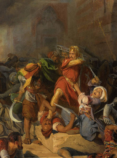 Wall Art - Painting - Battle Of Jaffa, Richard The Lionheart by Edouard Girardet