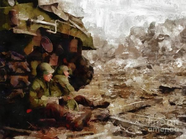 Dday Wall Art - Painting - Battlefield, World War Two by Mary Bassett