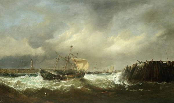 Wall Art - Painting - Battling Into A Sheltered Harbour by Edward Moran