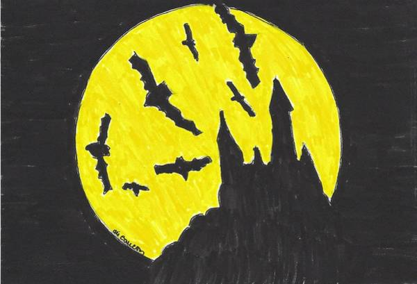 Trick Or Treat Drawing - Batty Halloween by Ali Baucom