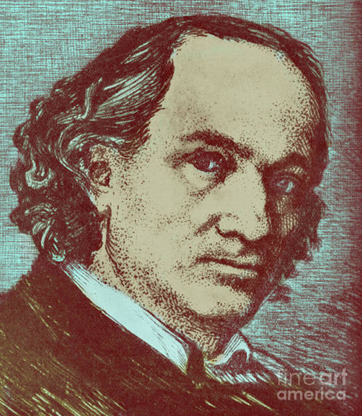 Wall Art - Drawing - Baudelaire Colorized Drawing by French School
