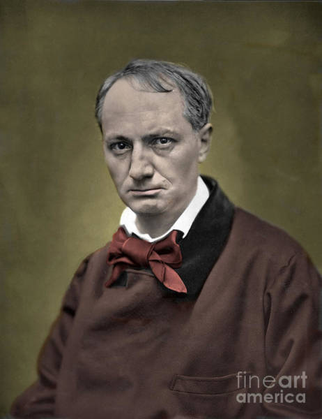 Wall Art - Photograph - Baudelaire Portrait Colorized Photo by French School