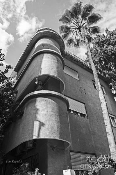 Wall Art - Photograph - Bauhaus Building In Tel Aviv, Israel. Black And White Image  by Rita Kapitulski
