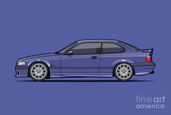 Wagon Digital Art - Bavarian E36 3-series M-drei Coupe Techno Violet by Tom Mayer