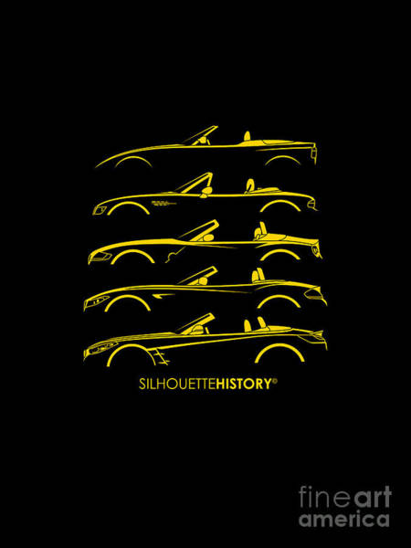 Wall Art - Digital Art - Bavarian Roadster-z 5gen Silhouettehistory by Gabor Vida