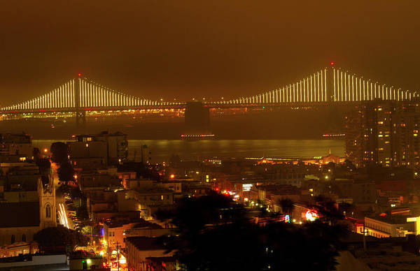 Photograph - Bay Bridge At Night From Russian Hill by Bonnie Follett