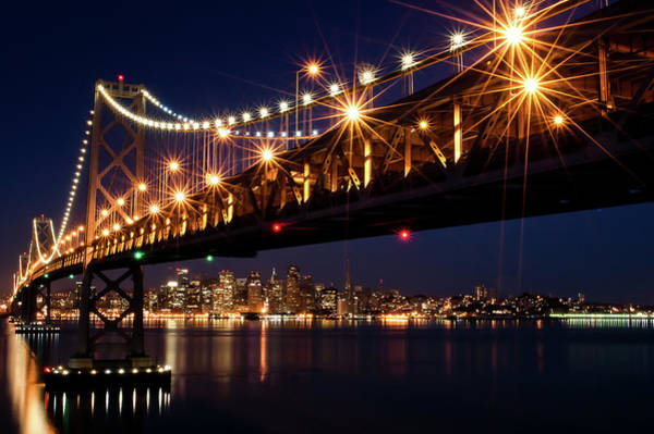 Wall Art - Photograph - Bay Bridge In Front Of San Francisco by Blue Hour Photography