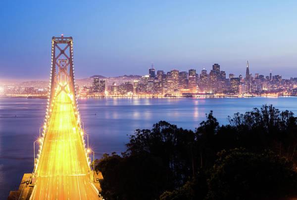 Fire Place Photograph - Bay Bridge, San Francisco by Uschools