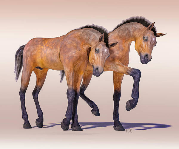 Wall Art - Digital Art - Bay Foal Pair by Betsy Knapp