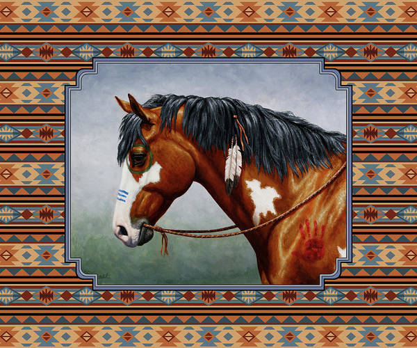 Wall Art - Painting - Bay Native American War Horse Southwest by Crista Forest