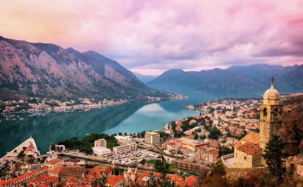 Photograph - Bay Of Kotor Sunset Panorama - Kotor, Montenegro by Nico Trinkhaus