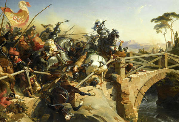Wall Art - Painting - Bayard At The Battle Of Garigliano, 1503 by Felix Philippoteaux
